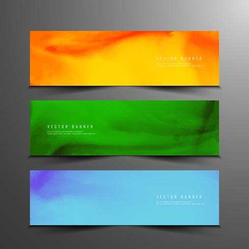 Abstracte kleurrijke aquarel moderne banners instellen