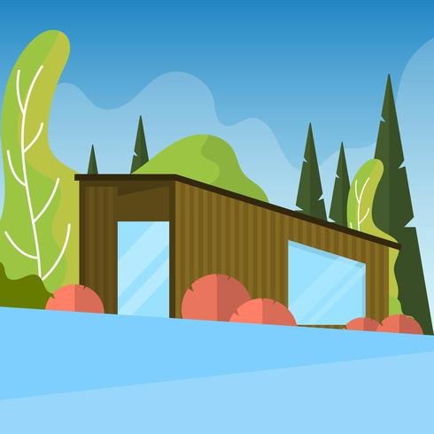 Flat Modern Cabin in the Woods Vector Illustration