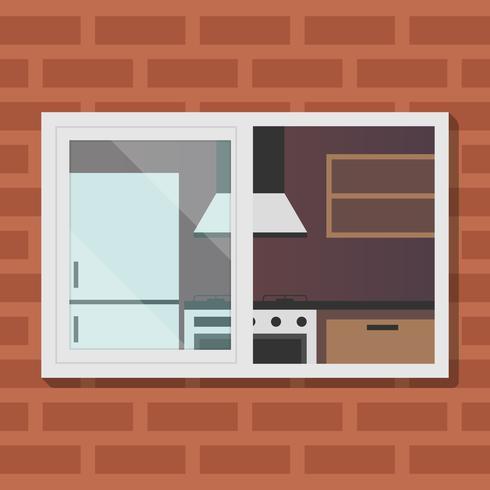 Vista al aire libre en la sala de cocina ilustración vectorial