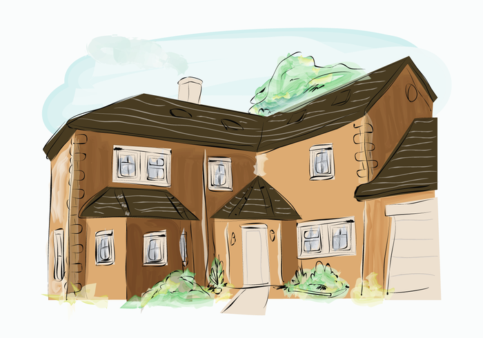 Classic Brown Brick Building House Exterior Watercolor Vector Illustration