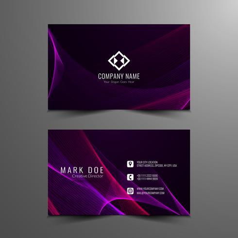 Abstract stylish wavy business card template vector