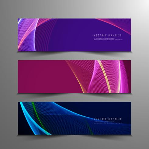 Conjunto de bandeiras elegantes onduladas coloridas abstratas