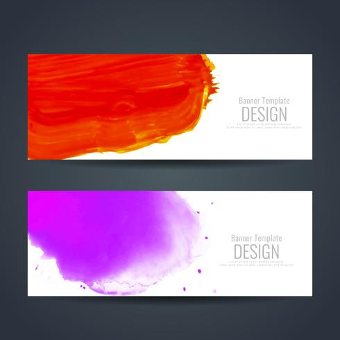 Abstract colorful watercolor banners set