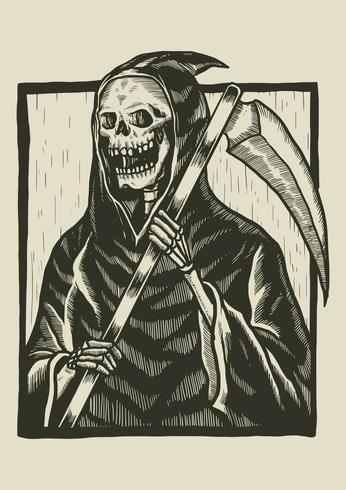Esqueleto Linograbado Ilustración