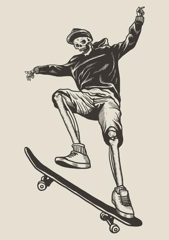 patineta esqueleto linograbado