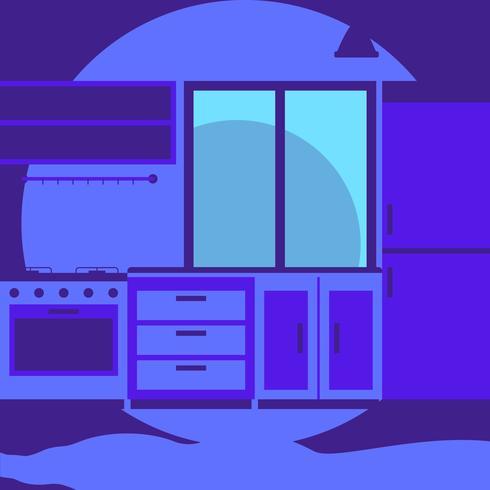 Intérieur de cuisine confortable de style plat moderne avec illustration de conception graphique vecteur fenêtre