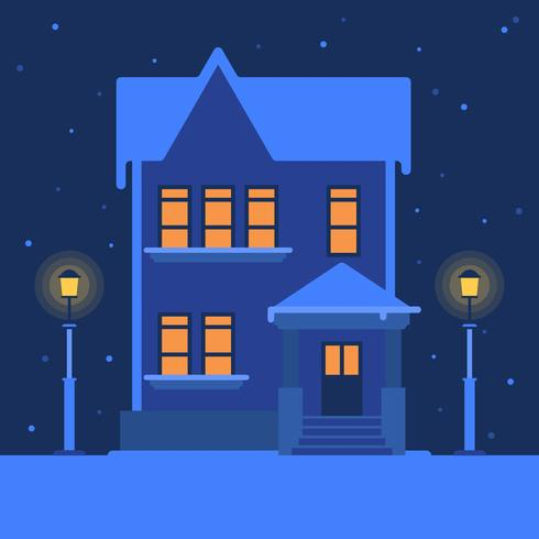 House In A Tranquil Snowy Winter Landscape Vector Illustration