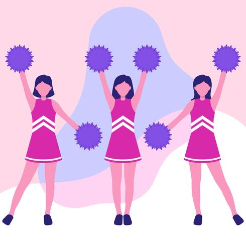 Illustrazione di personaggio dei cartoni animati di ragazze pon pon in azione