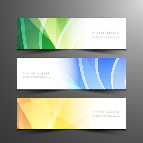 Conjunto de banners moderno ondulado abstracto
