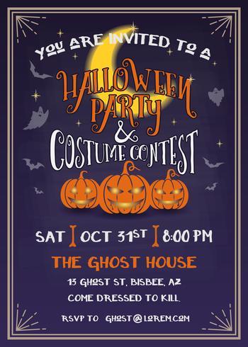 Invitación de la fiesta de Halloween con diseño de calabazas de miedo