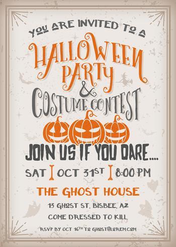 Inbjudan för Halloween party och kostymtävling med läskig pumpkinsdesign.