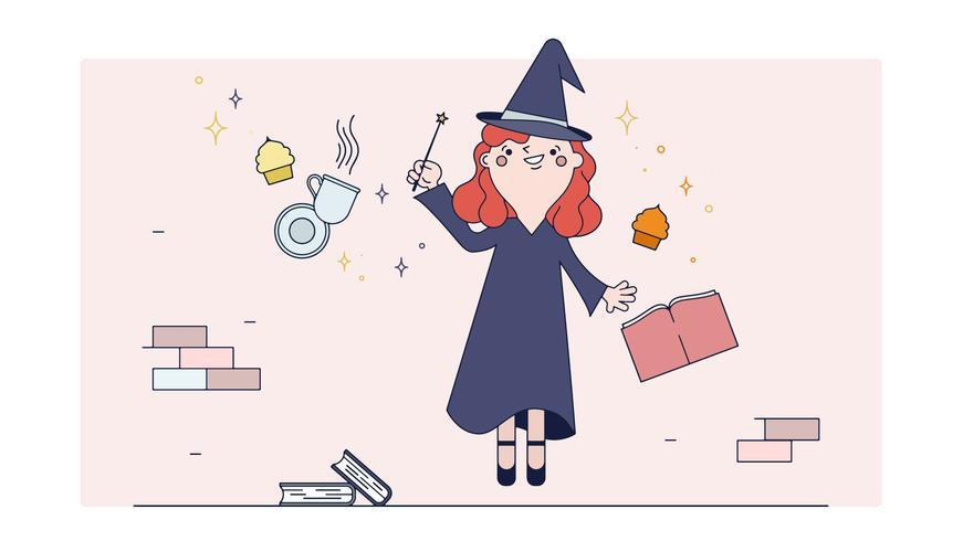 Vector de té mágico de bruja
