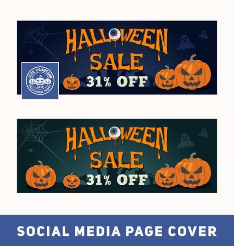 Banner de promoción de venta de Halloween para portada de página de redes sociales y banner web