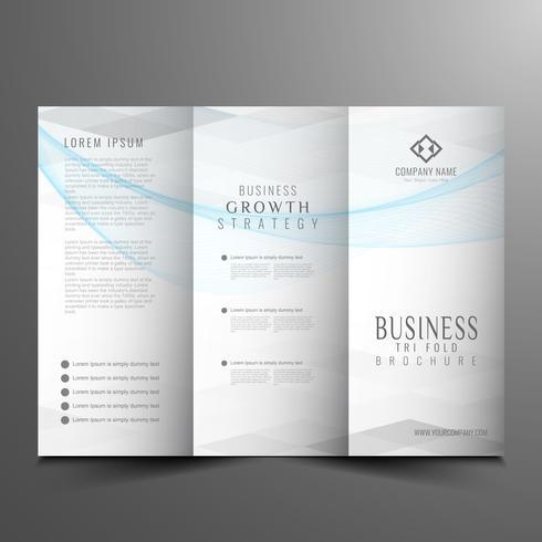 Abstracte golvende drieblads zakelijke brochure sjabloon