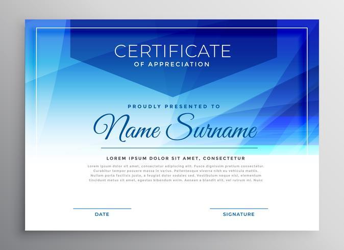plantilla de diseño abstracto azul certificado certificado