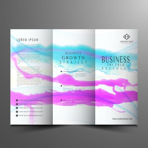 Plantilla de folleto de negocio triple acuarela abstracta
