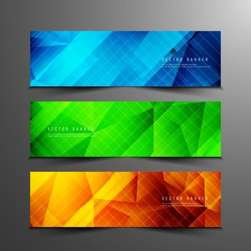 Abstrakt geometrisk modern bannersats