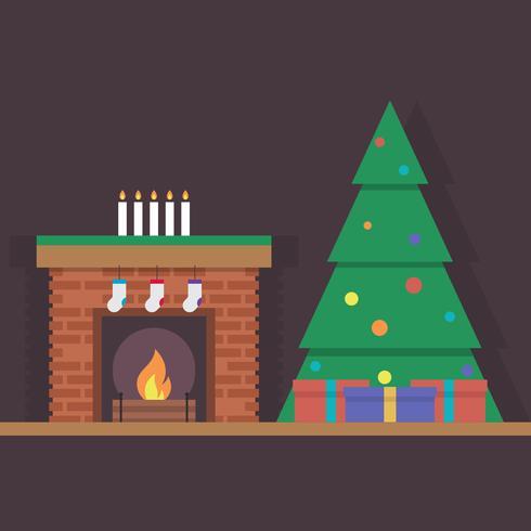 Árbol de navidad festivo y chimenea decorada en el fondo oscuro ilustración