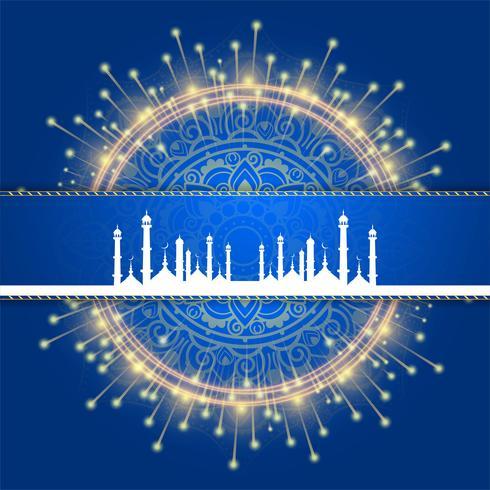 Elegante vector de ilustración de fondo de tarjeta islámica Eid mubarak