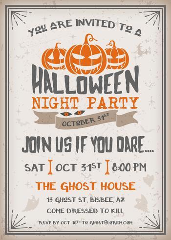 Invitación de la fiesta de la noche de Halloween con diseño de calabazas de miedo