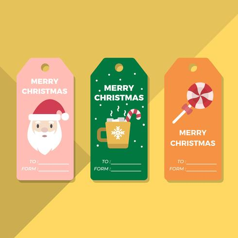 Flat Holiday Gift Tags Vector Template
