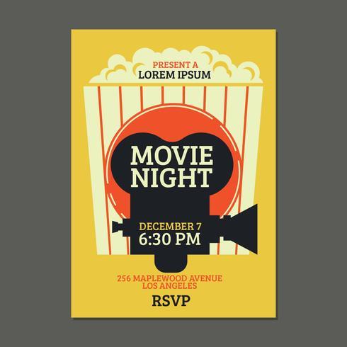 Cartel de noche de película fresca con fondo de palomitas de maíz vector