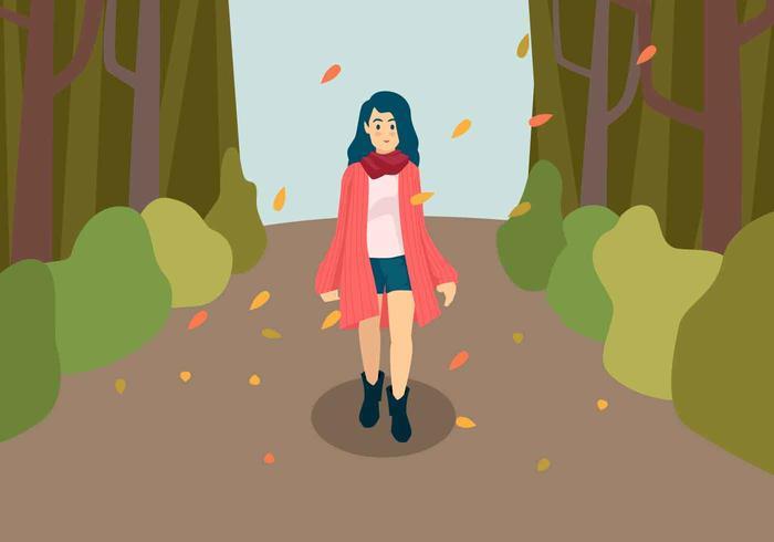 Chica en la moda de otoño ilustración vectorial