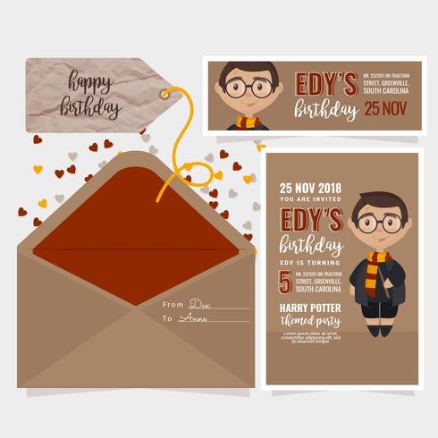 Vector Kids Birthday Invitation