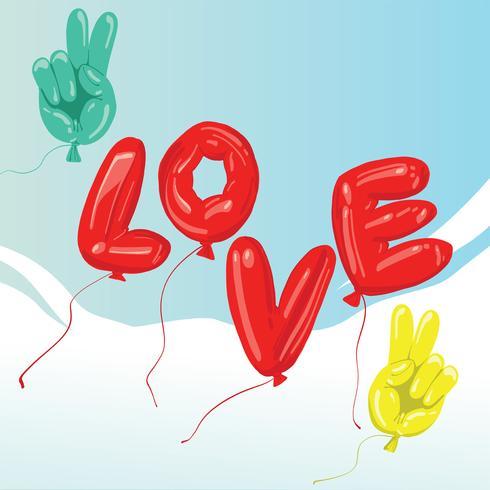 Paz y amor globo diseño vectorial