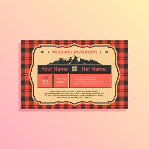 Vector de plantilla de invitación de boda de paisaje de Buffalo