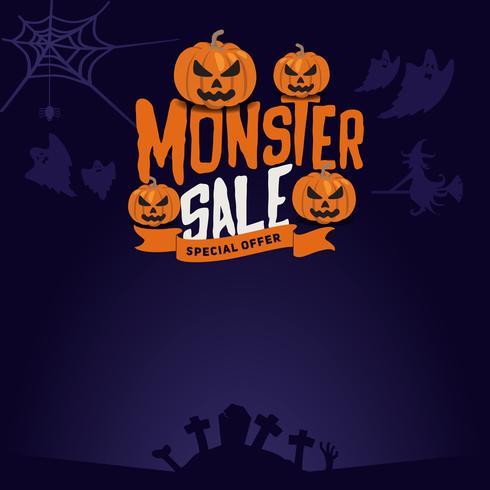 Fond et emblème de vente de monstre Halloween