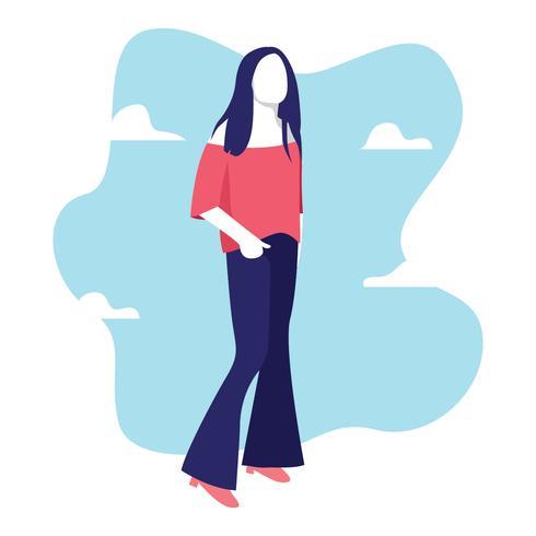 Bell bottoms vrouw illustratie
