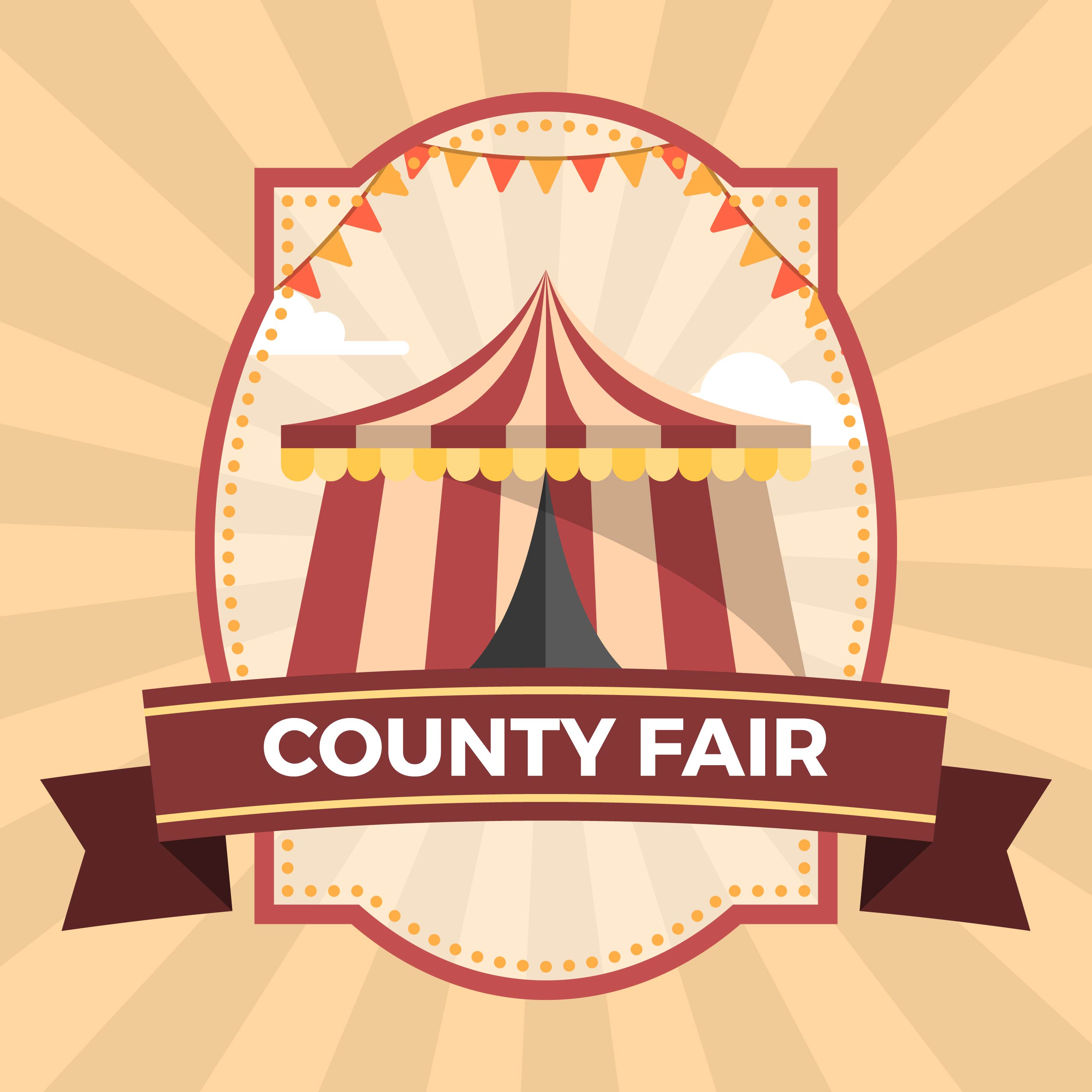 flat county fair badge poster illustration template