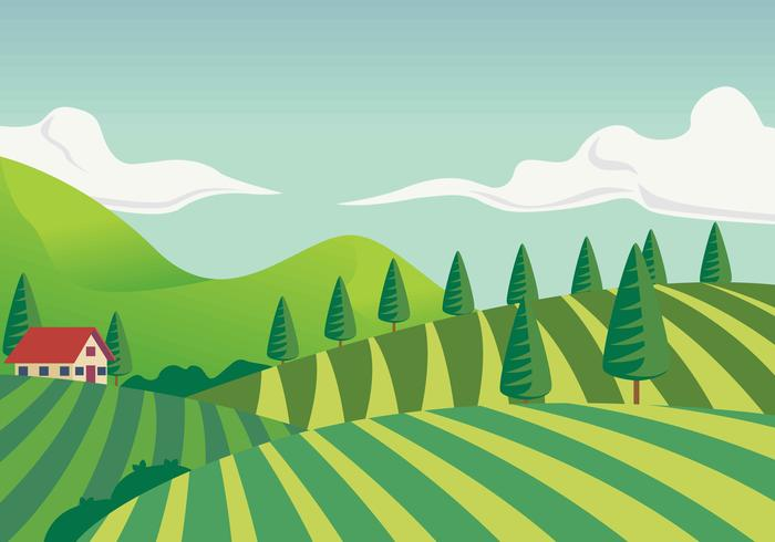 Wijngaard landschap eerste persoon vectorillustratie
