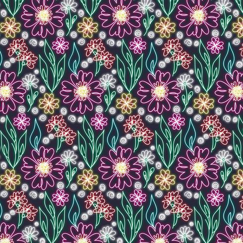 Vector sin fisuras patrón floral de neón