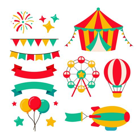 Set van eerlijke Carnaval-elementen