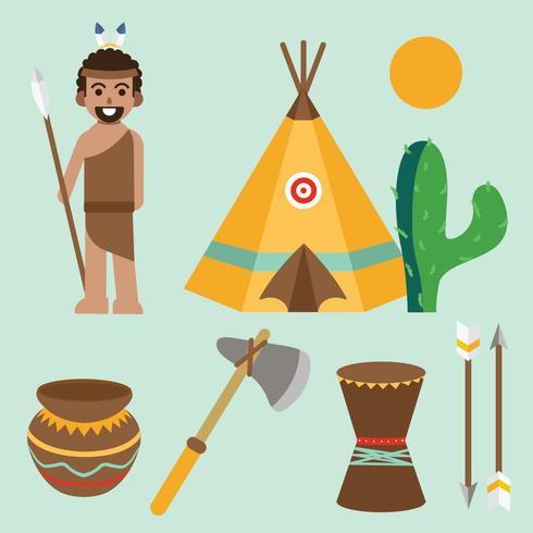 Pacchetto di elementi degli elementi di popoli indigeni vettore