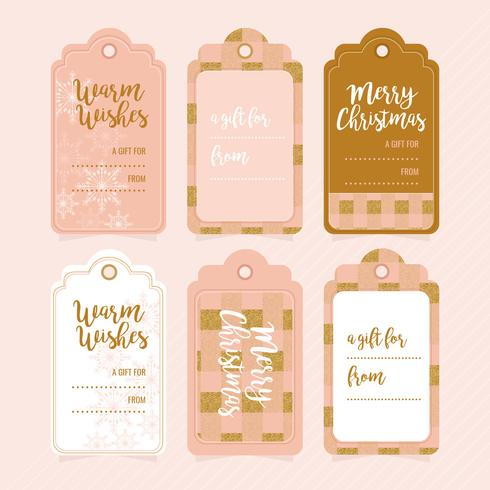 Vector Gold and Rose Christmas Gift Tag