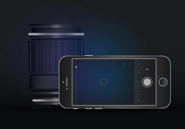 Realistic DSLR App Mobile Camera  vector