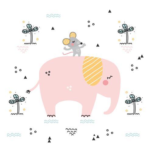 Vecteur éléphant et souris