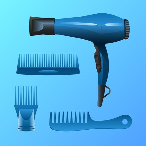 Blauwe realistische Salon Tool Vector