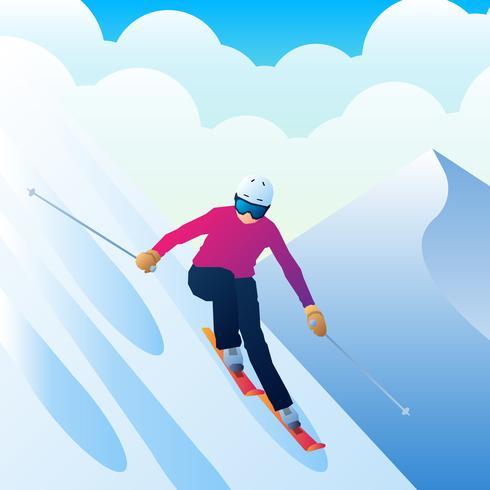 Joven deportista esquiador en esquís de una montaña en el fondo Vector ilustración