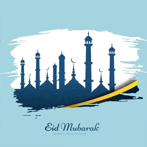 Mooie Eid Mubarak kaart achtergrond vector