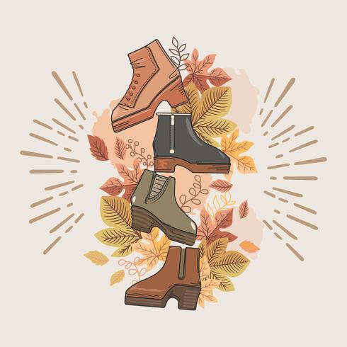 Sammlung von verschiedenen Arten von Herbststiefeln