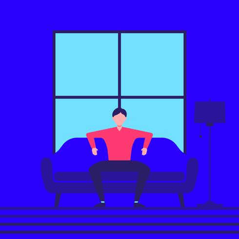 Man Is Sitting In The Room And Resting Vector Illustration