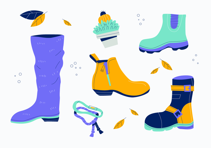 Woman Leather Fall Boots Vector Flat Illustration Collection