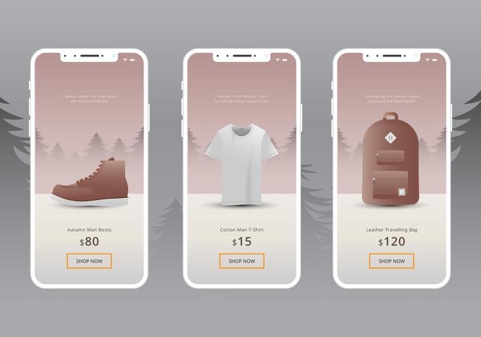 Botas de outono e aplicação de compras de moda