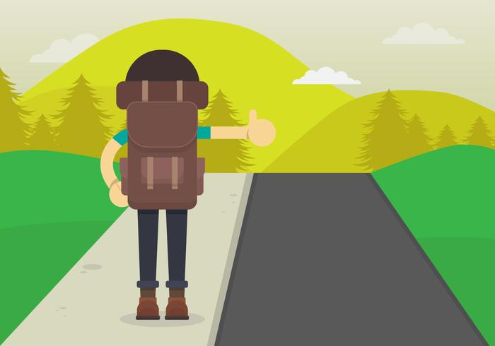 Hitch Hiker Illustration. Young Man character for hitch hiking trip. Hitch Hiker from Back View.