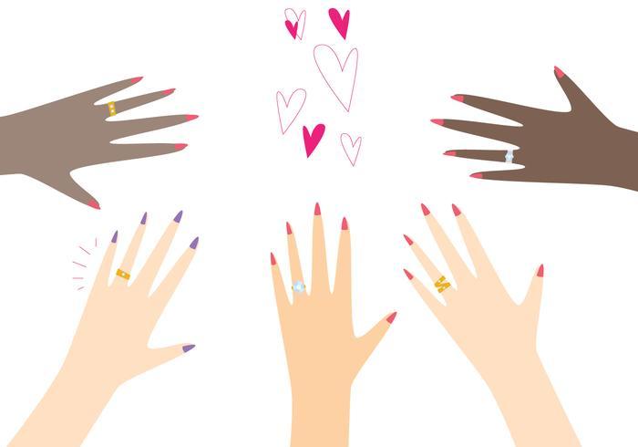 Handen dragen gouden ring vector