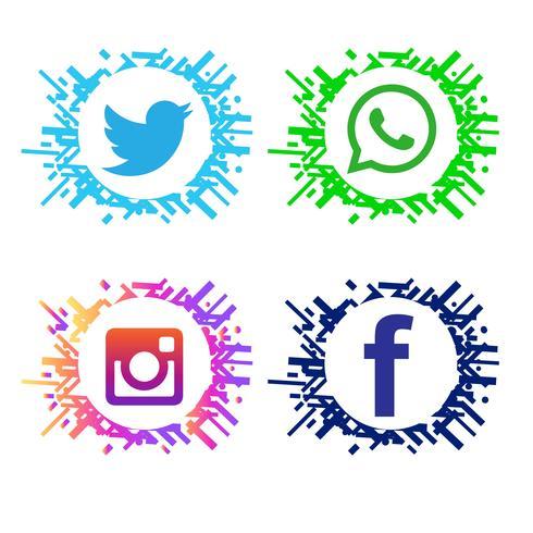 Conjunto de iconos modernos elegantes redes sociales